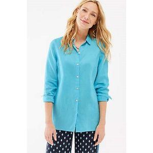 J. Jill Island Blue Essential Linen Shirt